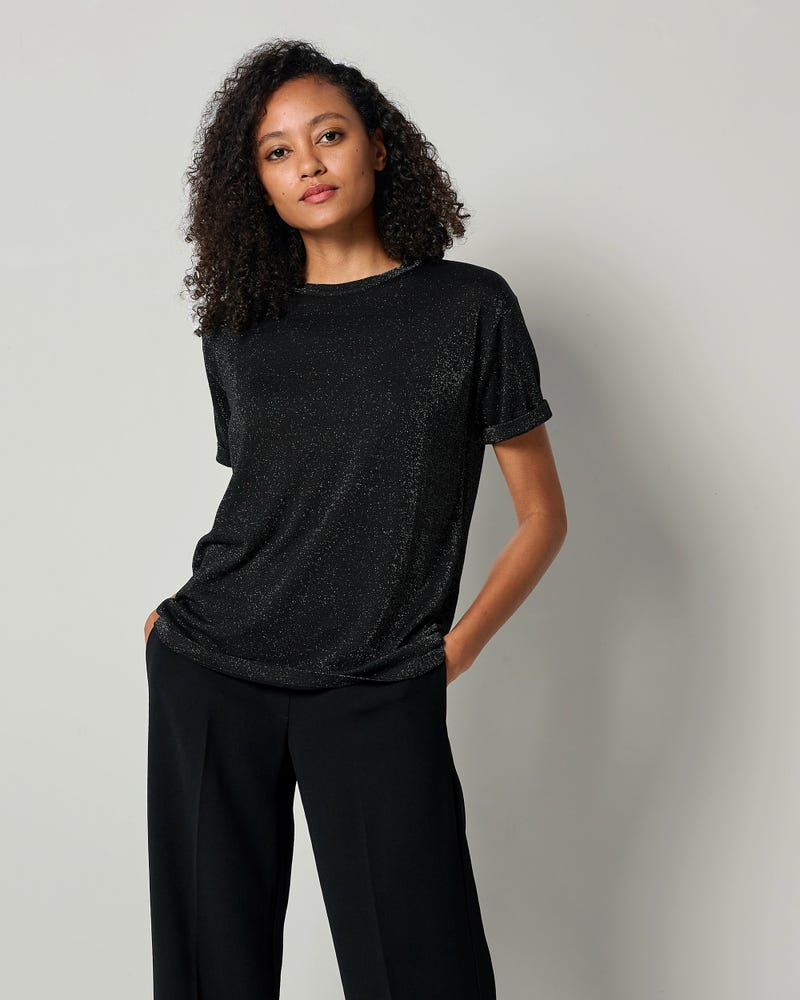 LILYSHEENA | Skimrande Sidenstickad T-shirt