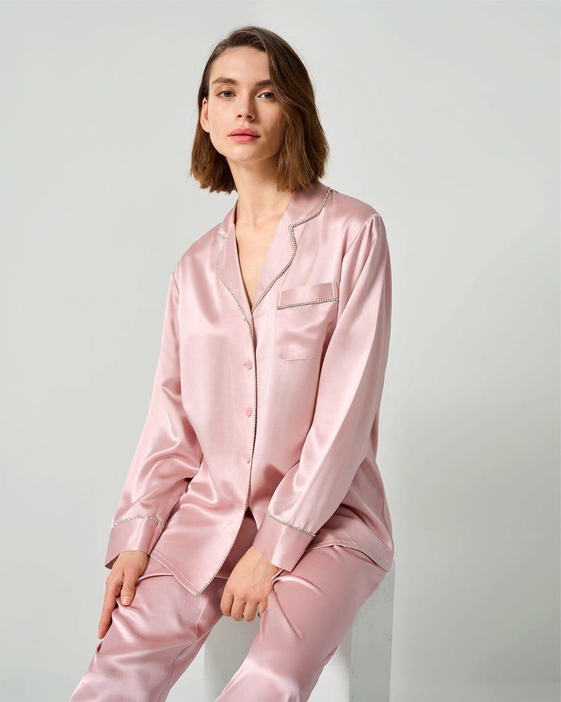 Pyjamas För Kvinnor I Siden Med Strass