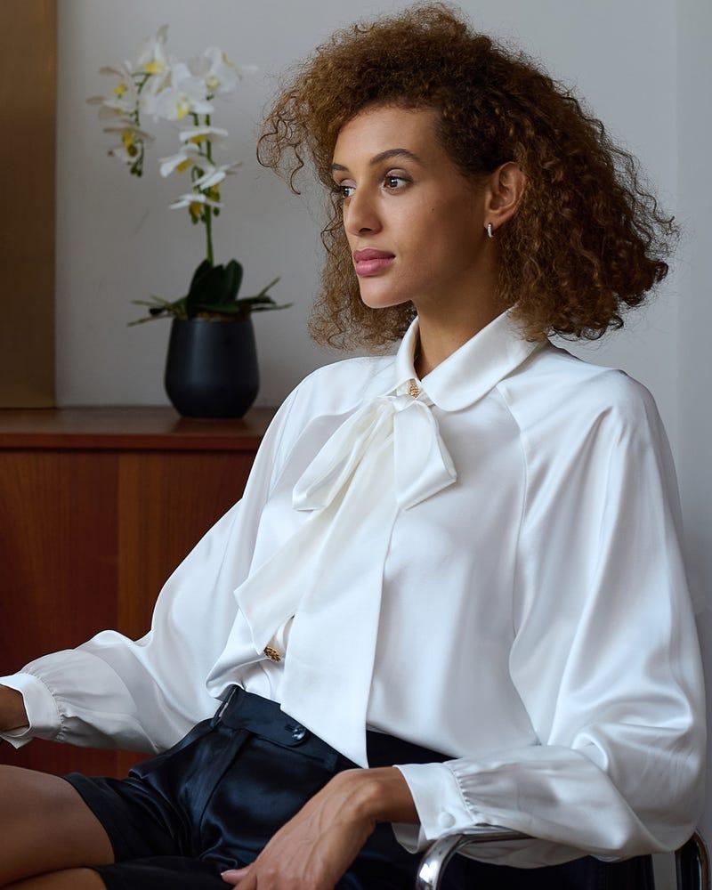 Vintage Skjorta Med Silkeslinne