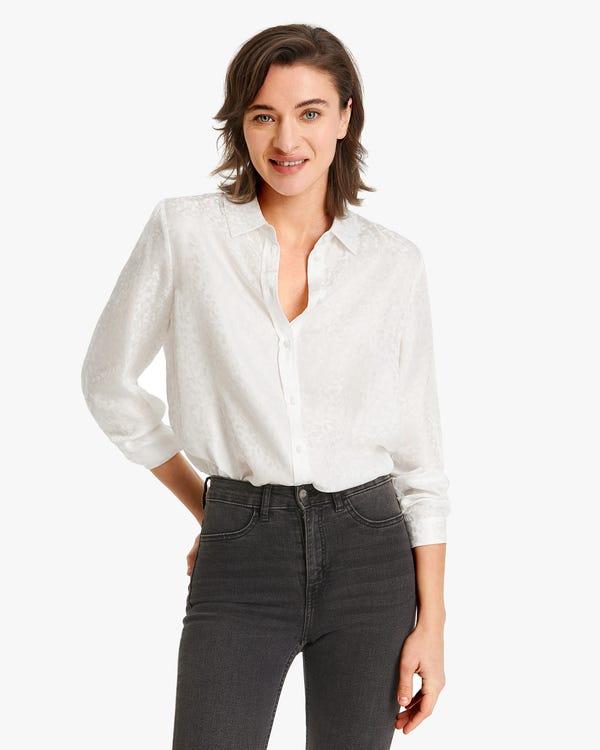 Pattern Jacquard Silk Women Shirt