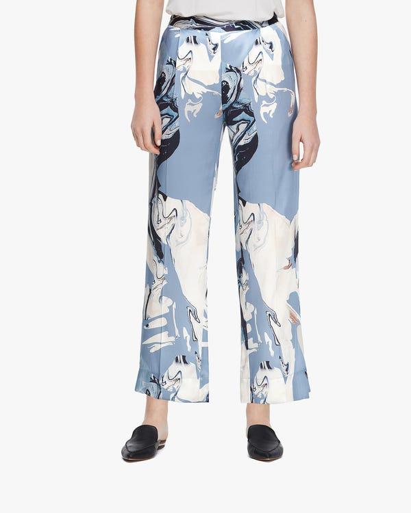 Water Pollution Plastic Print Women Silk Pants