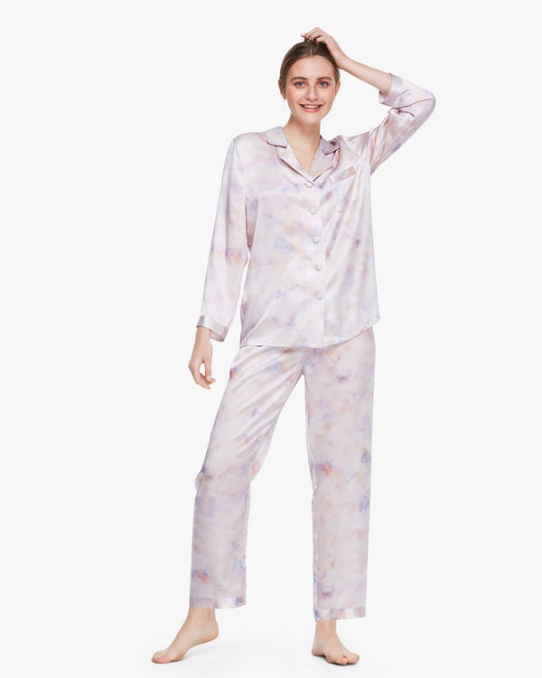 Printed Silk Pajama Set For Women