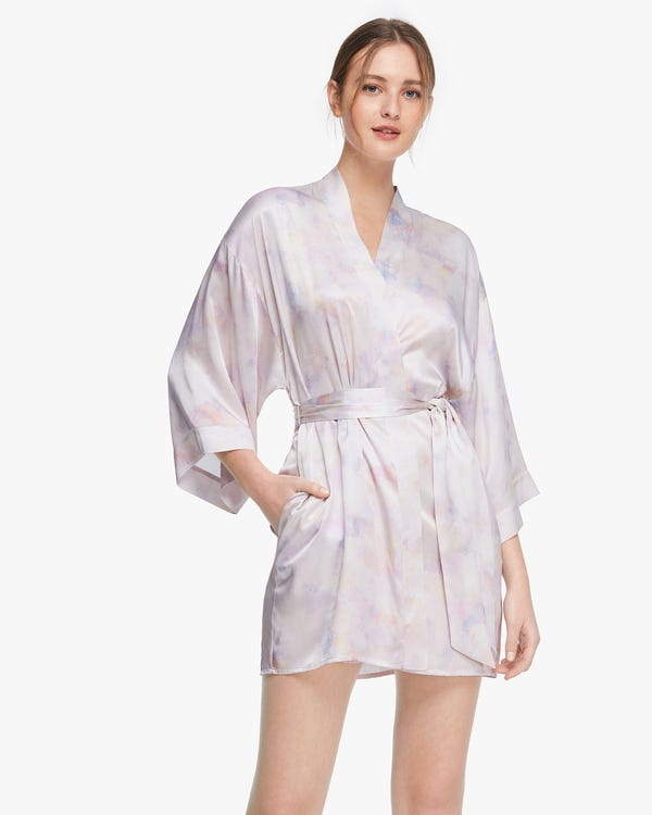 Watercolor print Mid-length Women Silk Robe