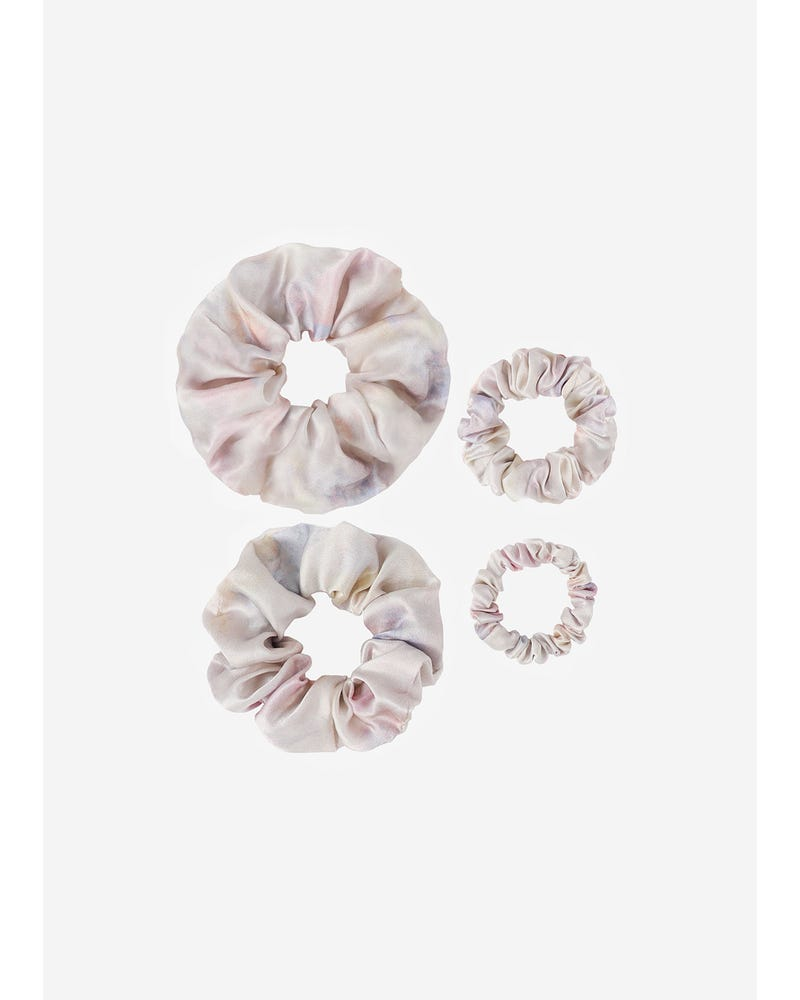 4 Pack Different Silk Hair Scrunchies Set