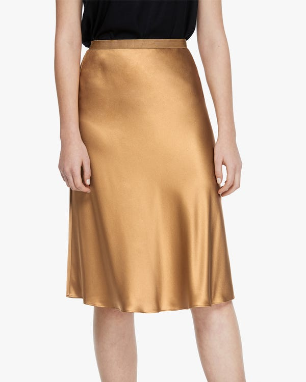 Modern Elegant Silk Midi Skirt Pale-Camel L
