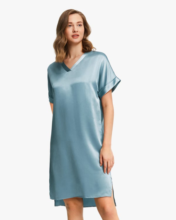 Versatile Bra-In Silk Nightdress Blue-Haze S