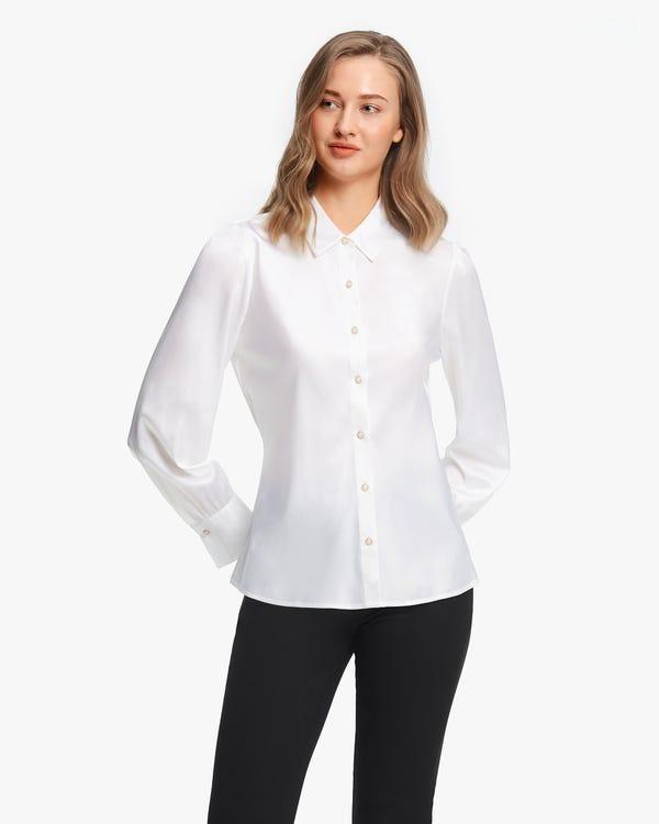 Retro Puff Sleeves Women Shirt White XS-hover