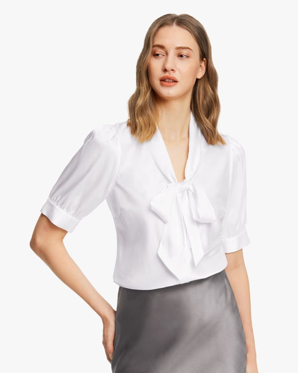 Short-Sleeve Silk Bow-Tie Blouse White XS