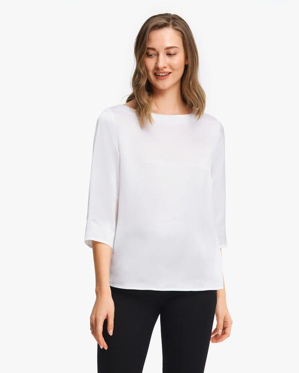 3/4 Sleeve Boat Neck Silk Blouse White XL
