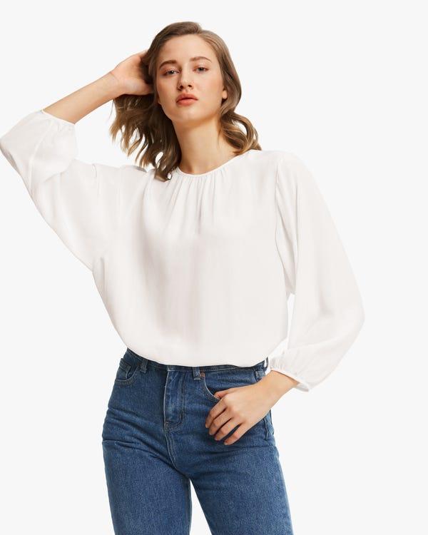 Elegant Gathered Neck Silk Blouse Natural-White XL