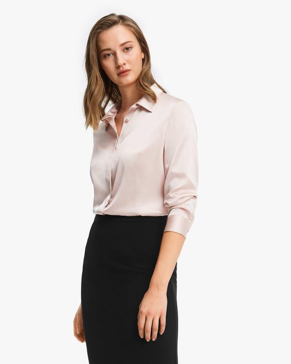 Classic Silk Business Shirt For Women Light-Beige XS