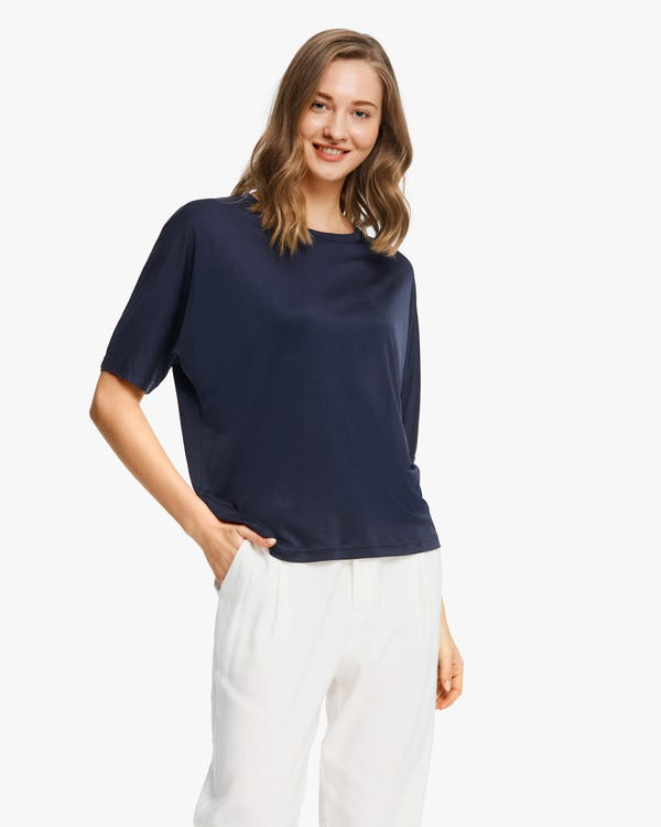Loose Fit Silk Knitted T-Shirt Navy Blue L