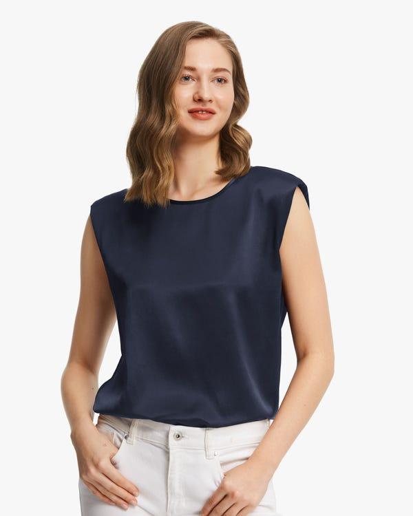 Modern Sleeveless Silk Tank Top Navy Blue XXL