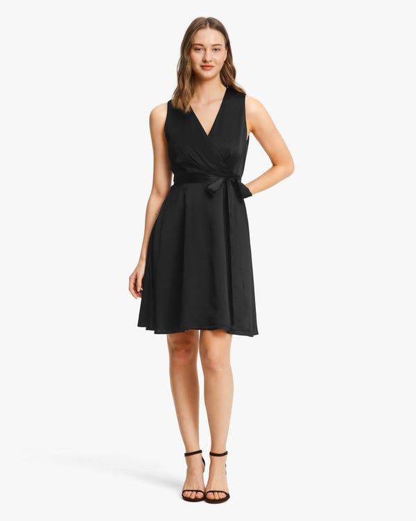 Retro V-Neck Pure Silk Dress Black XS