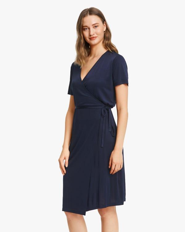 Pure Color Silk Knit Dress Navy Blue L