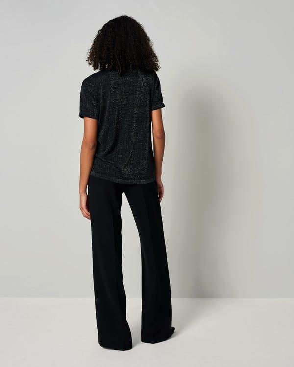 LILYSHEENA | Skimrande Sidenstickad T-shirt-hover