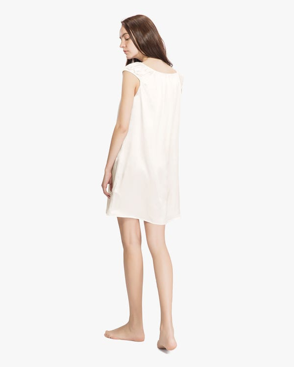 22 Momme Mid length Silk Nightgown with Tied Bust-hover