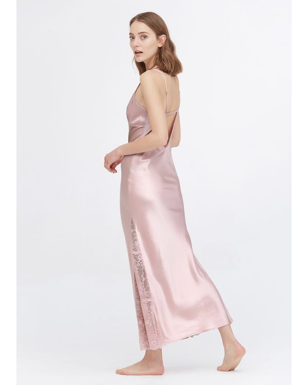 22 Momme Full Length Silk Lacy Nightgown-hover