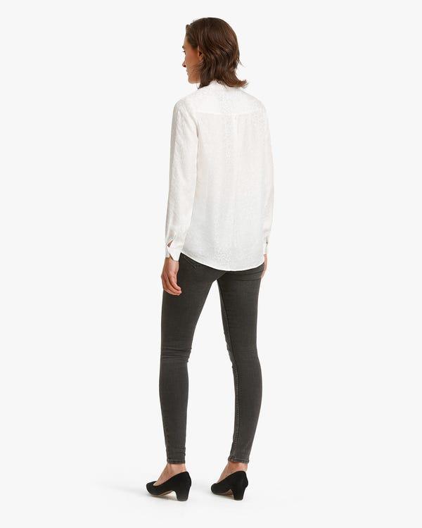 Pattern Jacquard Silk Women Shirt-hover