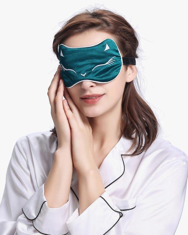 Sofistikerad broderad Silk Sleep Eye Mask-hover