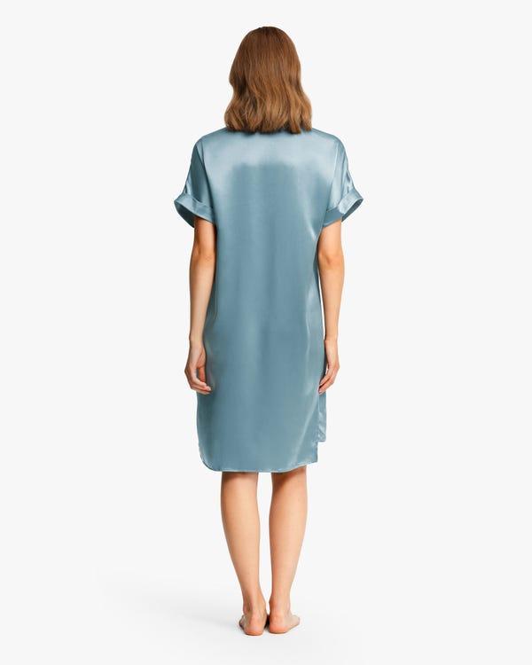 Versatile Bra-In Silk Nightdress Blue-Haze XS-hover