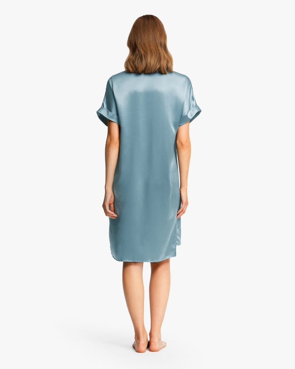 Versatile Bra-In Silk Nightdress Blue-Haze S-hover