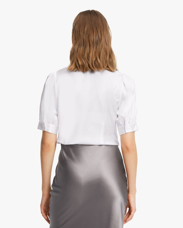 Short-Sleeve Silk Bow-Tie Blouse-hover