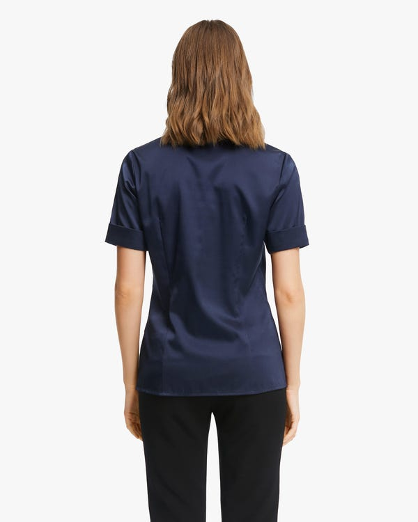 Stretchable Women Silk Summer Shirt Navy Blue XS-hover