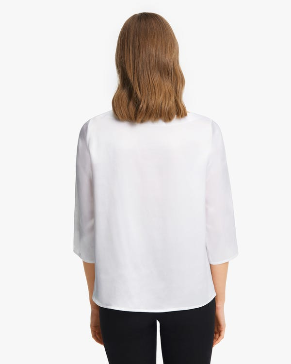 3/4 Sleeve Boat Neck Silk Blouse White XS-hover