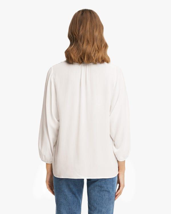 Elegant Gathered Neck Silk Blouse Natural-White XL-hover