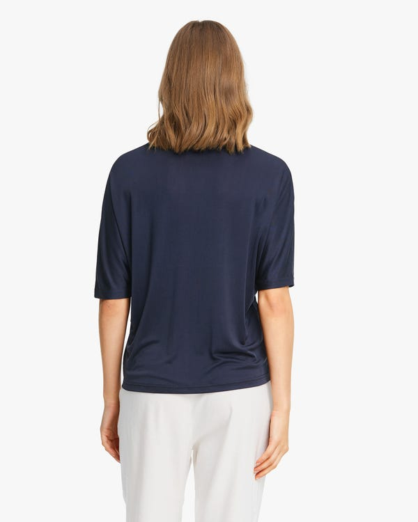 Loose Fit Silk Knitted T-Shirt Navy Blue L-hover