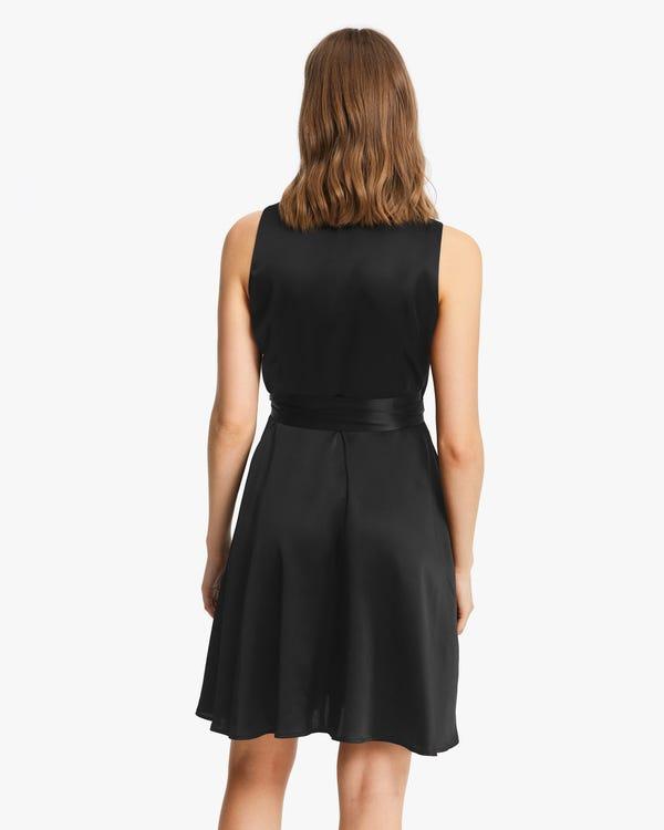 Retro V-Neck Pure Silk Dress Black XS-hover