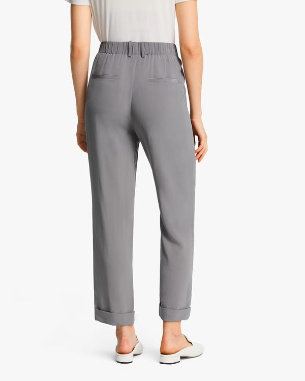 Women Tucked Tapered Silk Pants-hover