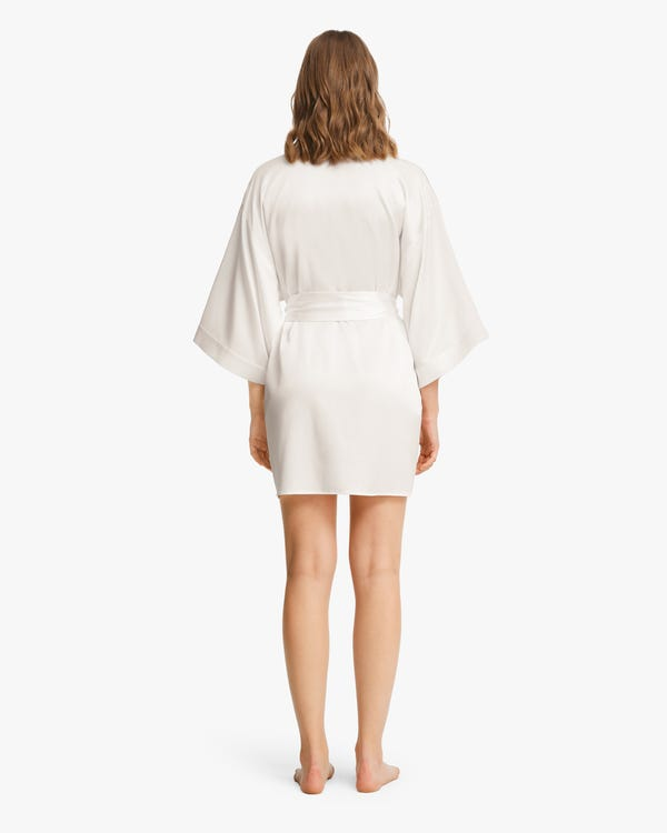 Glossy Silk Mini Robe For Women Ivory XS-hover