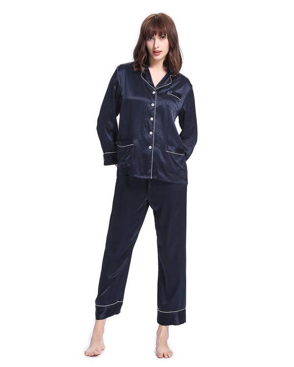 22 Momme Trimmad Sidenpyjamas-hover