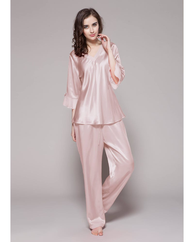 22 Momme Laced Silk Pajama Set