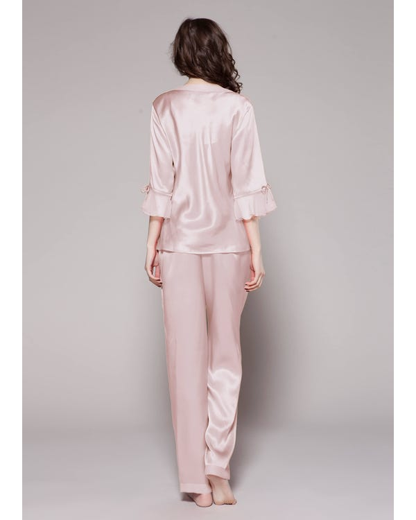 22 Momme Laced Silk Pajama Set-hover