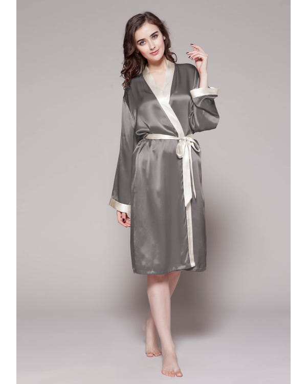 22 Momme Reverse Trim Mid Length Silk Robe-hover