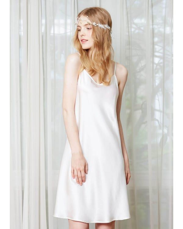 22 Momme Feminine Silk Chemise White 2X
