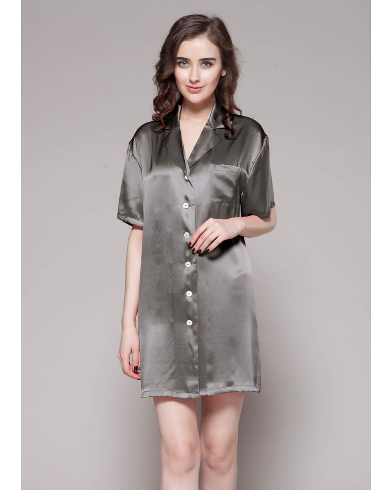 22 Momme Button Front Silk Nightshirt