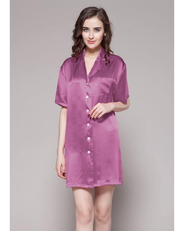 Knapp Framsidan Silke Nattskjorta Violet XXL