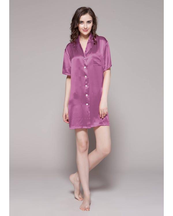 Knapp Framsidan Silke Nattskjorta Violet XXL-hover
