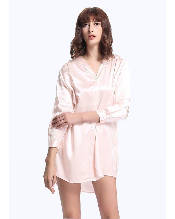 22 Momme Elegant Siden Nattskjorta