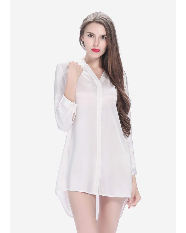 22 Momme Elegant Siden Nattskjorta Vit XS