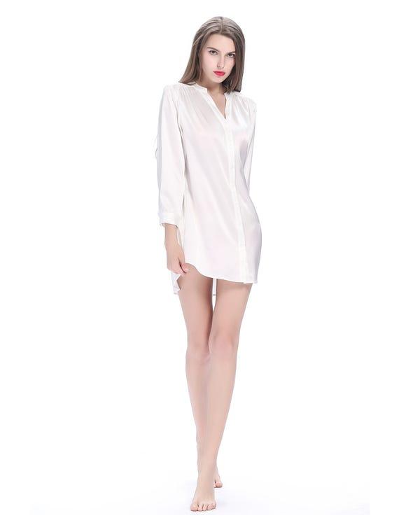 22 Momme Elegant Siden Nattskjorta Vit XS-hover