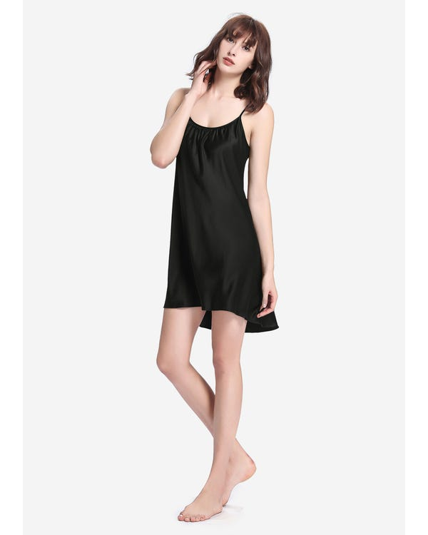 22 Momme Sexig Nattklänning I Siden Black XS