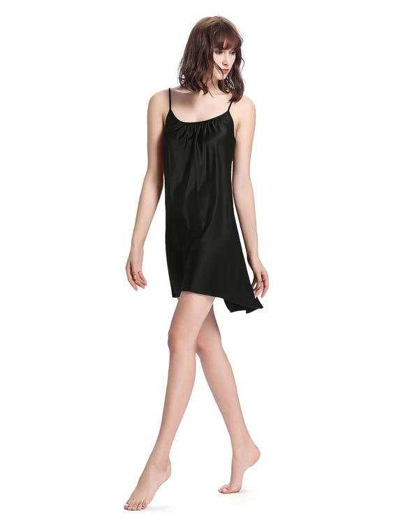 22 Momme Sexig Nattklänning I Siden Black XS-hover