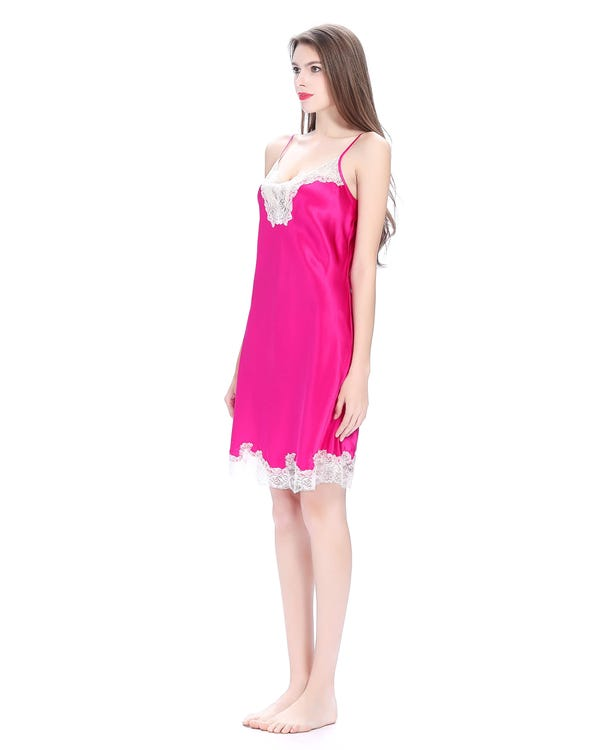 22 Momme Short Chemise With Flower Lace-hover