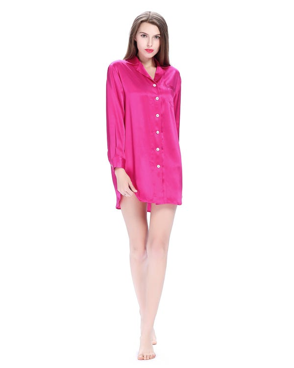 22 Momme Long Sleeve Casual Silk Nightshirt Hot Pink 1X-hover
