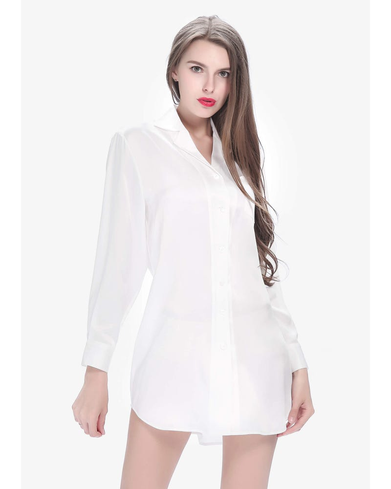 22 Momme Long Sleeve Casual Silk Nightshirt